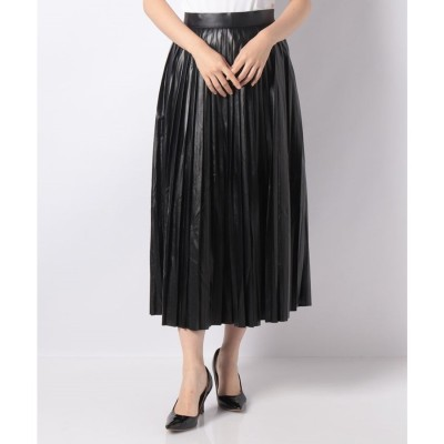 koe フェイクレザープリーツスカート(ブラック)
