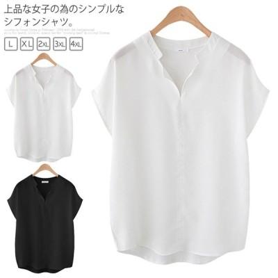 【L?5XL】送料無料 シフォンシャツ ブラウス トップス レディース 大きいサイズ 体型カバー ホワイト ブラック ゆったり 無地 シンプル 半袖
