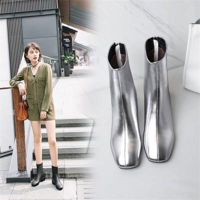エンジニアブーツ ワークブーツ 太めヒール ミドルヒール レディース ジップ ジップあり履きやすい 歩きやすい 滑り止め 保温 フェイクレザー