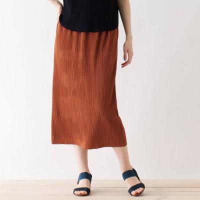 シューラルー SHOO-LA-RUE ひんやり プリーツナロースカート (ダークオレンジ)