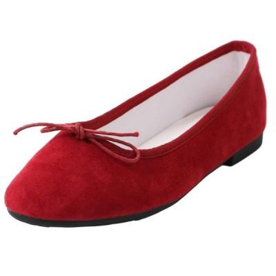 [メールコション] フラット スウェード カジュアル ぺたんこ 靴 婦人靴 柔らかい 歩きやすい フェミニン レディース (24.5cm
