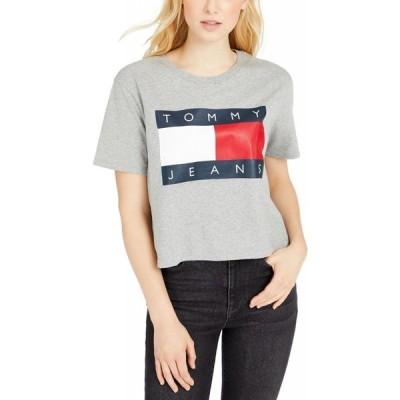 トミー ジーンズ Tommy Jeans レディース ベアトップ・チューブトップ・クロップド Tシャツ トップス Cotton Flag Logo Cropped T-Shirt Heather Grey