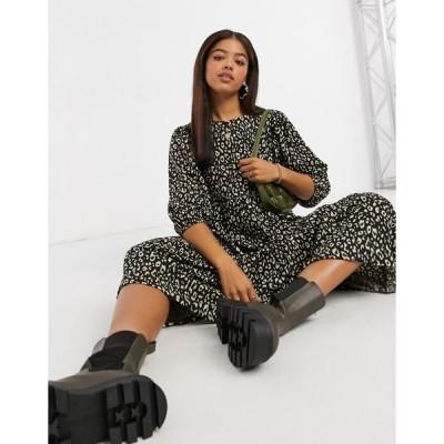 オンリー レディース ワンピース トップス Only midi smock dress with tiering in bold animal print Leopard print