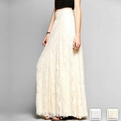 スカート レディース レース ロングスカート 大人 白 体型カバー 刺繍 春 夏