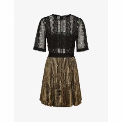 リース REISS レディース パーティードレス ワンピース・ドレス Athena lace woven dress BLACK/GOLD