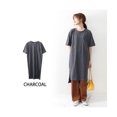 (OWNCODE/オウンコード)コットン素材Tシャツワンピース/レディース チャコールグレー