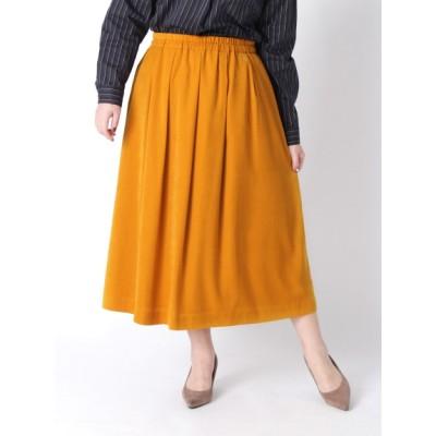 【大きいサイズ】【3-7L】【日本製】ピーチスキン無地ロングスカート 大きいサイズ スカート レディース