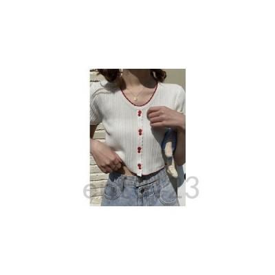 半袖Tシャツニットレディース半袖ニットTシャツミニ丈丸首無地トップスゆったり着痩せプルオーバーファッション夏夏物新作2020