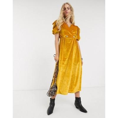 エイソス レディース ワンピース トップス ASOS DESIGN velvet midi dress with puff sleeve and rhinestone button