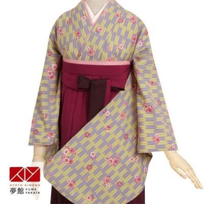 3月は売り切れました 卒業式 袴 セット レンタル 大学 anan ウグイス×紫 矢絣 G028