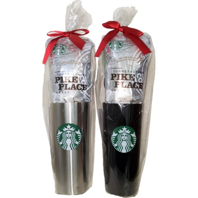 【当日発送】スターバックス ステンレスタンブラー(魔法瓶)&コーヒー(粉)セット【シルバー/ブラック】 母の日/ギフト/プレゼント