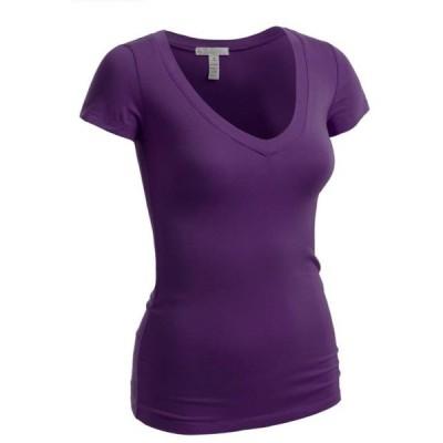 レディース 衣類 トップス Emmalise Women's Short Sleeve T Shirt V Neck Tee (Purple Small) Tシャツ