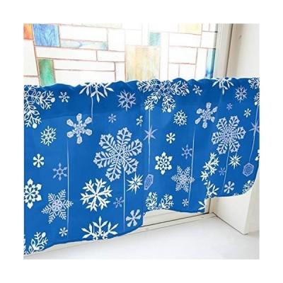 のぼり屋工房 カフェカーテン 雪の結晶 800×450mm 青・41650 (1391437)