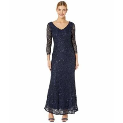 マリーナ レディース ワンピース トップス Slim 3/4 Sleeve Lace Dress with V Front/Back Neckline Navy