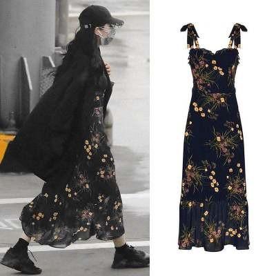 Q267   袖なしロングワンピース レディース リゾートワンピース 花柄ワンピース 韓国ファッション 夏ファッション