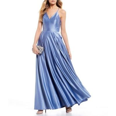 ビーダーリン レディース ワンピース トップス Lace-Bra-Back A-line Satin Long Dress