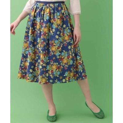 スカート フラワープリントギャザースカート