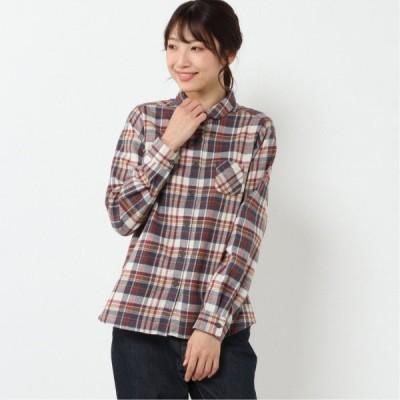 起毛チェックシャツ オフ×ワイン M L