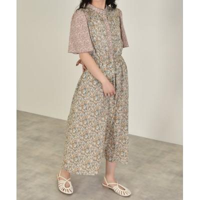 【ダブルクローゼット】 パネル花柄ワンピース レディース ブルー FREE w closet