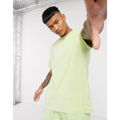 メンナス Mennace メンズ Tシャツ トップス acid wash t-shirt with back logo in lime green グリーン