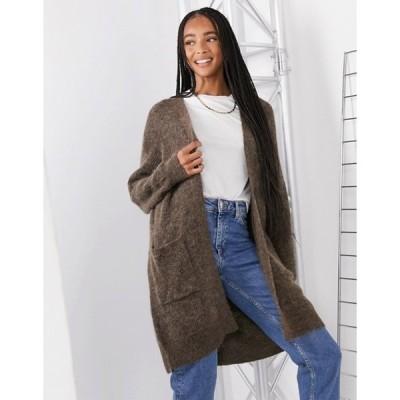 セレクティッド レディース カーディガン アウター Selected Femme long cardigan in brushed knit in brown