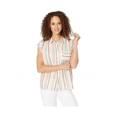 Vince Camuto ヴィンスカムート レディース 女性用 ファッション ブラウス Canyon Stripe Two-Pocket Linen Blouse - Canyon Sunset