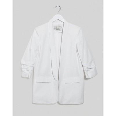 ストラディバリウス レディース ジャケット・ブルゾン アウター Stradivarius ruched sleeve blazer with embroidery in white White