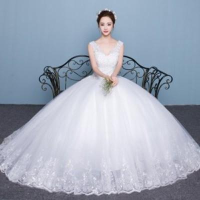 韓国風レディースウェディングドレス二次会パーティードレスVネックスパンコールドレス司会者ドレス撮影写真プリンセス結婚式披露宴花嫁