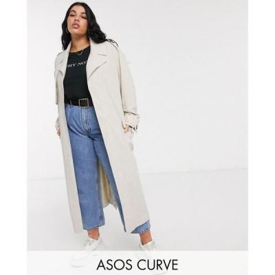 エイソス ASOS Curve レディース トレンチコート アウター ASOS DESIGN Curve luxe oversized linen look trench coat in cream クリーム