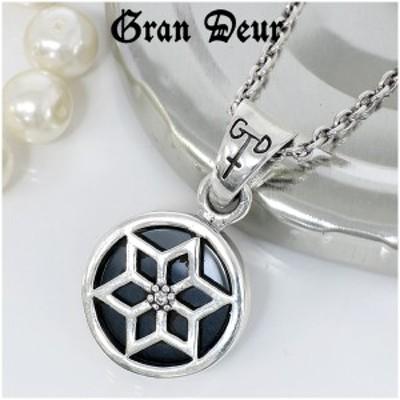 GRAN DEUR ダイヤモンド オニキス ヘキサグラム シルバーペンダントトップ ペンダントヘッド(チェーンなし)シルバー925 メンズ ネックレ