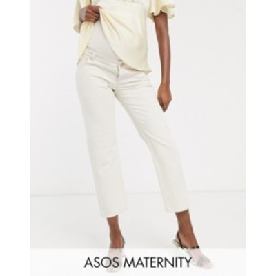 エイソス レディース デニムパンツ ボトムス ASOS DESIGN Maternity Mid rise 'off duty' straight leg jeans in ecru with over the bum