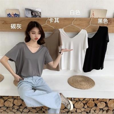 シンプルルーズTシャツ Vネック Uネック カットソー 薄手 半袖 レディース フリーサイズ グレー ブラウン ブラック ホワイト