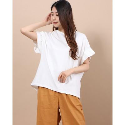 ラナン Ranan シルケット加工袖タックTシャツ (オフホワイト)