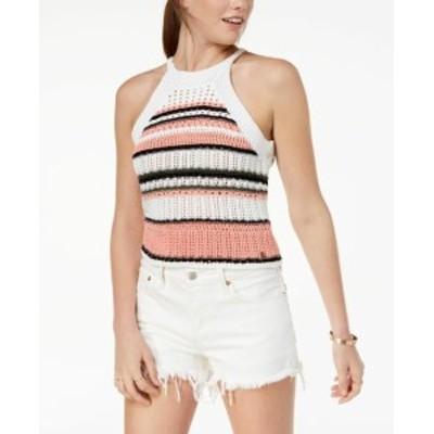 Roxy ロキシー ファッション トップス Roxy NEW White Womens Large L Striped Crochet Halter Sweater Knit Top