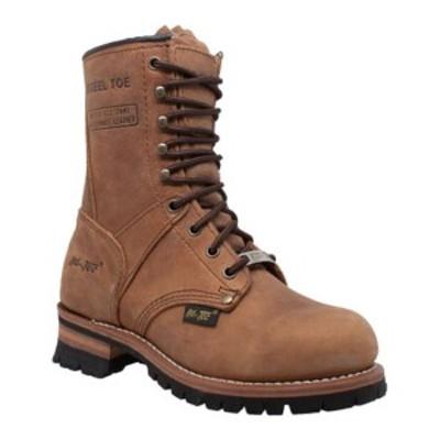 """アドテック レディース ブーツ&レインブーツ シューズ 2426 9"""" Steel Toe Logger Boot Brown Leather"""