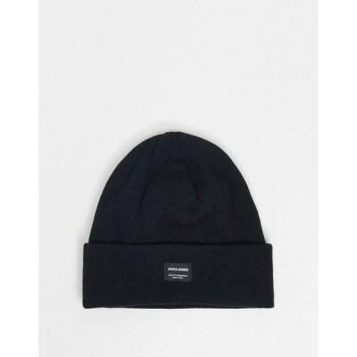 ジャック アンド ジョーンズ メンズ 帽子 アクセサリー Jack & Jones knitted logo beanie in black Black