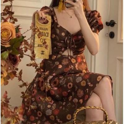 セミロリータ ワンピース 小花柄 花柄 お花 花柄 お花 パステルカラー ジェラートカラー マカロンカラー ギャザー ひだ シャーリング ミ