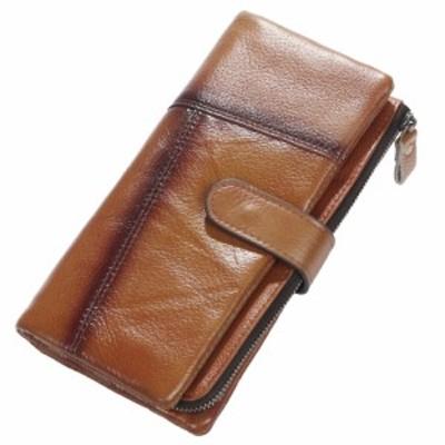 長財布 メンズ 本革 高級 牛革 使用 パスケース付き ヴィンテージ加工 多機能 長財布 大容量カード入20枚 大型小銭入 札入