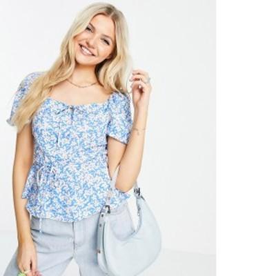 ニュールック レディース シャツ トップス New Look square neck tiered blouse in blue ditsy floral Blue pattern