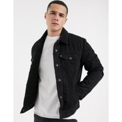 リーバイス メンズ ジャケット・ブルゾン アウター Levi's type 3 fleece lined denim trucker jacket in Berk black wash Berk black