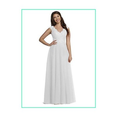 Girl's Simple Prom Dresses V-Neck White Long Lace Appliques Formal Party Gown並行輸入品