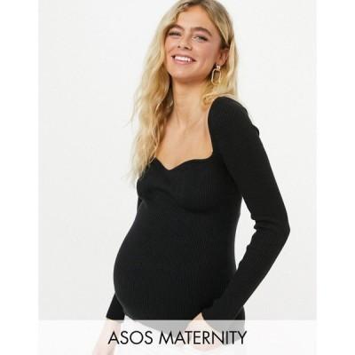 エイソス ASOS Maternity レディース ニット・セーター マタニティウェア トップス Asos Design Maternity Jumper With Sweetheart Neckline In Black ブラック