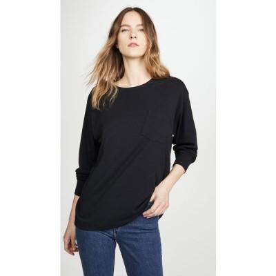 アレキサンダー ワン alexanderwang.t レディース 長袖Tシャツ トップス Vintage Cotton Long Sleeve Tee Black