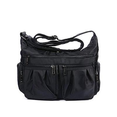 RFID Crossbody Bags for Women Lightweight Nylon Shoulder Bag Water Resistant Travel Purses Multi Pocket Work Bag (Black-RFID BLOCKING)【並