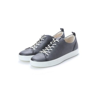 エコー ECCO Womens Soft 8 Sneaker (BLACK/DARK SILVER)