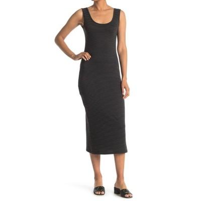パピロン レディース ワンピース トップス Fitted Stripe Midi Dress CHARCOAL / BLACK