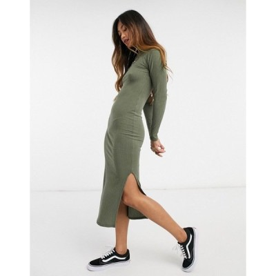 ニュールック レディース ワンピース トップス New Look ribbed turtle neck body-conscious dress in khaki Khaki