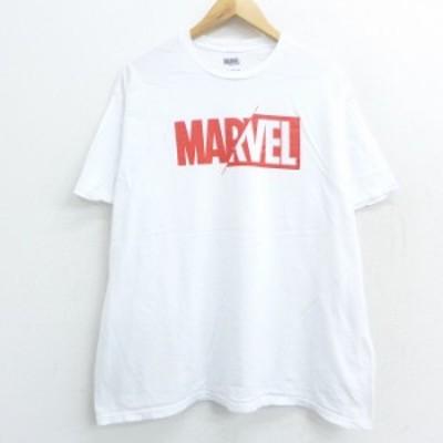 古着 半袖 Tシャツ マーベル コットン クルーネック 白 ホワイト XLサイズ 中古 メンズ Tシャツ 古着