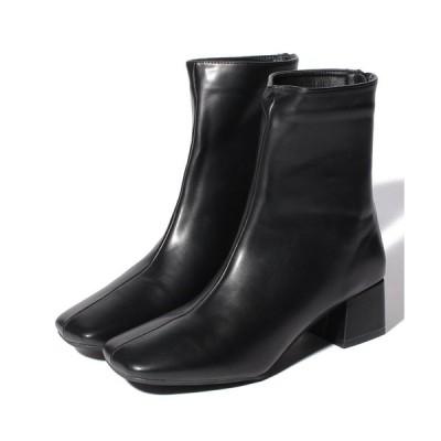 【シュークロ】 スクエアトゥ チャンキーヒール 《約5cm》ブーツ 1865