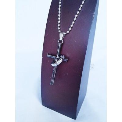クロス&リング ネックレス 十字架 ボールチェーン ブラック 黒 BLACK 1527
